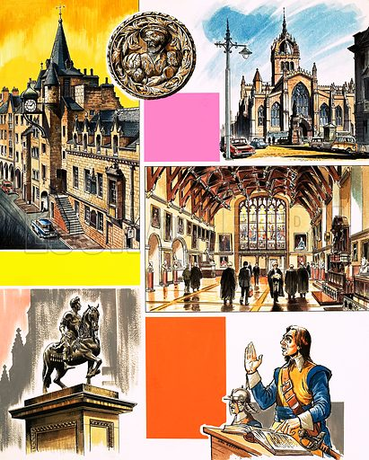 Inns of Court: Faculty of Advocates. Original artwork from Look and Learn no. 462 (21 November 1970).
