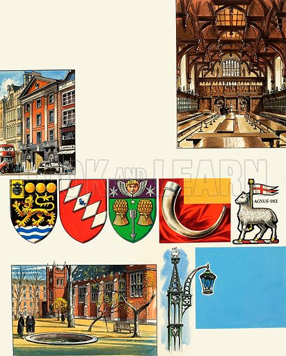 The Inns of Court: The Middle Temple. Original artwork from Look and Learn no. 455 (3 October 1970).