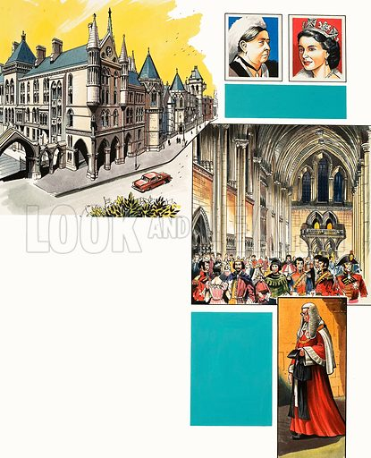The Inns of Court: Royal Courts of Justice. Original artwork from Look and Learn no. 463 (28 November 1970).