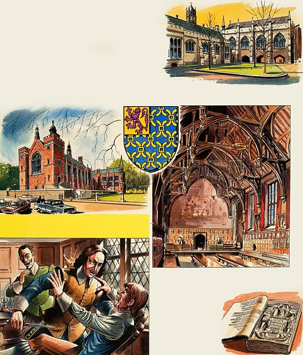 The Inns of Court: Lincoln's Inn. Original artwork from Look and Learn no. 457 (17 October 1970).