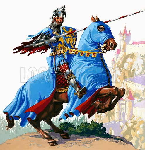 """""""K"""" for Knight shows a mounted Knight in shining armour, lance in gauntlet, with castle turrets in the background. From Treasure no. 37 (28 September 1963)."""