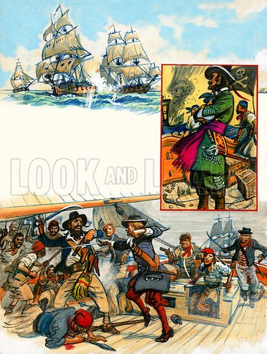 Scrapbook of the British Sailor: Privateers and Pirates. From Look and Learn no. 332 (25 May 1968). Original artwork loaned for scanning by Norman Wright.
