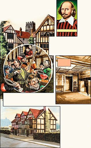 Stratford-upon-Avon. Original artwork from Look and Learn no. 17 (12 May 1962).
