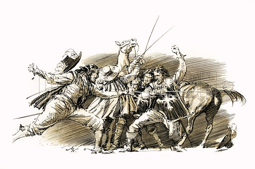 Twenty Years After: The Capture of D'Artagnan. Illustration based on the novel by Alexandre Dumas. Original artwork from Look and Learn no. 84 (24 August 1963).