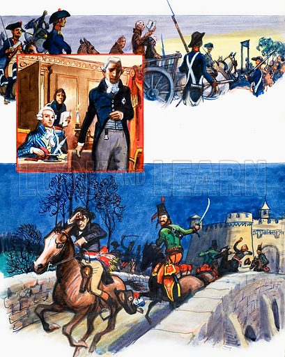 A Thousand Years of Spying. Unpublished series painted by Eric Parker left incomplete when he died in 1974.