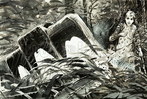Survival: Lost in the Jungle. Original artwork from Look and Learn no 588 (21 April 1973).
