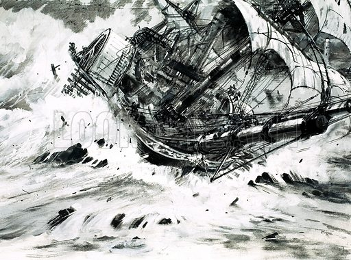 Stories of the Sea: The Humble Heroine. Original artwork from Look and Learn no. 631 (16 February 1974).