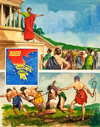The History of Our Wonderful World: The Warring Cities of Greece. Rivalry and war between Athens and Sparta. Athens was a fine city whilst Spartans lived only for war and kept their slaves busy in the fields. Original artwork from Treasure no. 240 (19 August 1967).