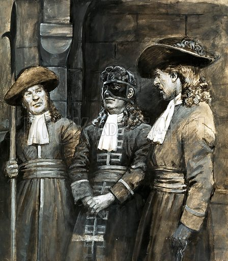 The Man in the Iron Mask, unidentified prisoner of the French during the reign of King Louis XIV, inspiration for the novel by Alexander Dumas. What really happened?: Prisoner in an Iron Mask. English rebel, son of a king or a minor Italian nobleman - who was the real Man in the Iron Mask held in the Bastille? Original artwork from Look and Learn no. 701 (21 June 1975).