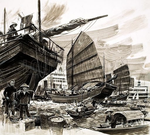 Unidentified scene of Chinese boats in harbour. Original artwork (dated 3/2/73).