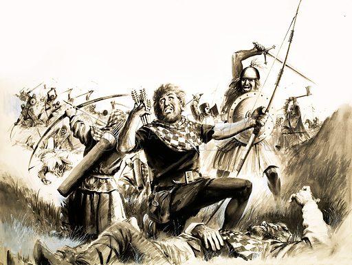 Unidentified battle scene. Original artwork (dated 14/4/73).