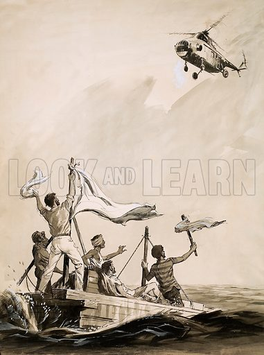 Secrets of Life: 'They Must Not Die!' (Kon Tiki). Original artwork from Look and Learn no. 130 (11 July 1964).