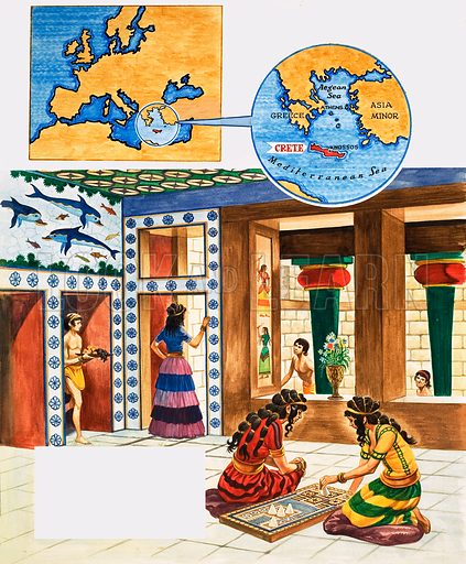 The History of Our Wonderful World: The Minoans. Home life in Ancient Crete. Original artwork from Treasure no. 232 (24 June 1967).
