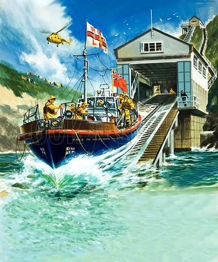 Launching a lifeboat. Original artwork (dated 18/6/66).