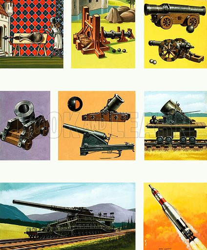 Projectile weapons through the ages. Original artwork from Ranger Annual 1968.