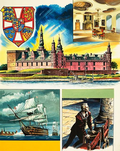 Historic Castles of the World: Kronborg. Hamlet's Castle. Original artwork from Look and Learn no. 434 (9 May 1970).