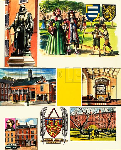 The Inns of Court: Gray's Inn. Original artwork (with unpublished opening panel) from Look and Learn no. 458 (24 October 1970).