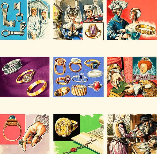 Rings and jewellery through the ages. Original artwork (dated 19/10/74).
