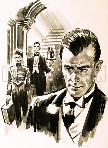 Arnold Bennett: a scene from Imperial Palace. Original artwork from Look and Learn no. 151 (5 December 1964).