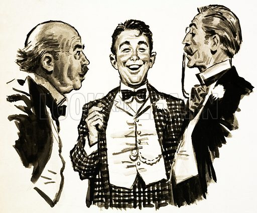 Arnold Bennett: a scene from The Card. Original artwork from Look and Learn no. 151 (5 December 1964).