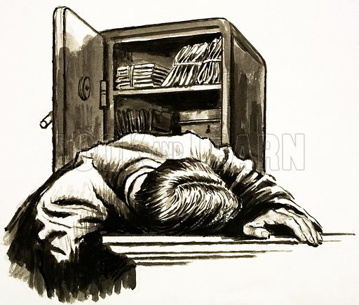 Unidentified victim of a safe break-in. Possibly unused drawing for the feature Arnold Bennett (Look and Learn no. 151, 5 December 1964).