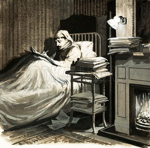 Marcel Proust (1871–1922), French author. Hidden from the world in a sound-proofed room, Proust sat in bed writing the book that was to make him famous, A la recherche du temps perdu. Original artwork from Look and Learn no. 631 (16 February 1974).