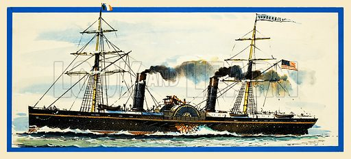 Challenge of the Blue Riband: The Duel That Led to Disaster. The American paddle steamer Vanderbilt. Original artwork from Look and Learn no. 857 (17 June 1978).