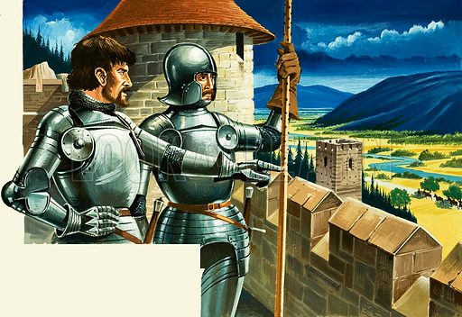 Looking out over the battlements. Original artwork from World of Wonder no. 85 (6 November 1971).
