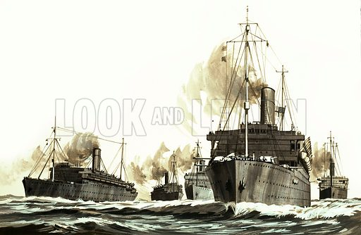 They Sailed the Seven Seas: Great Ships: Great Ships and Great Men (The Royal Mail Line). Original artwork from Look and Learn no. 449 (22 August 1970).