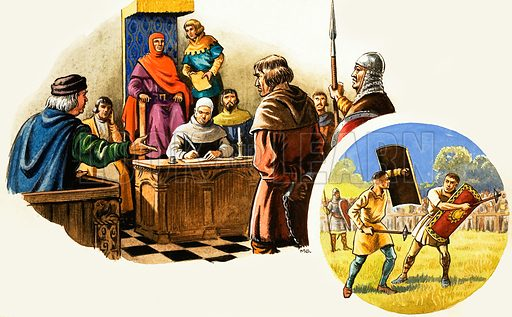 The Wonderful Story of Britain: The Good Laws of King Henry the Second. Henry II listens to the grievance of a humble subject, while his courts dispense justice through trial by jury, though lesser courts still used trial by ordeal, in this case by battle or combat. Original artwork from Treasure no. 41 (26 October 1963).