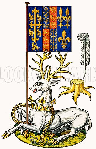 Royal Beasts: The Hart of Richard II. Original artwork from Look and Learn no. 271 (25 March 1967).