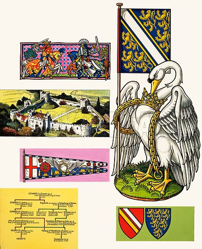 Royal Beasts: The Swan of the De Bohuns. Original artwork from Look and Learn no. 273 (8 April 1967).