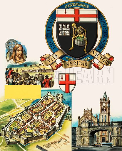 Let's Go to Londonderry: Ulster's Siege Town. Original artwork from Look and Learn no. 1045 (20 March 1982).