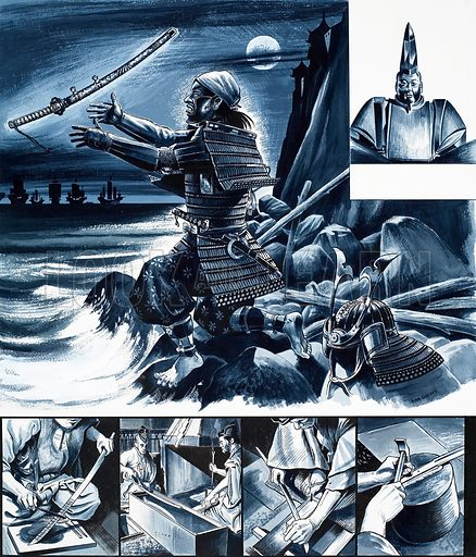 Japanese samurai warriors, including Yoritomo, founder of the Bakafu Code. Original artwork from Look and Learn no. 447 (8 August 1970).