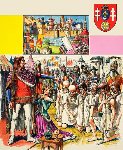 Historic Castles of the World: Calais -- and the Heroic Six. Original artwork from Look and Learn no. 435 (16 May 1970).