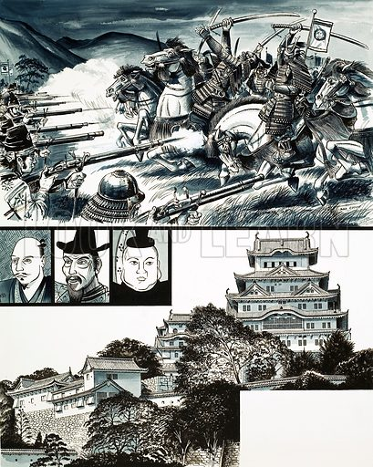 The War-Lords of Japan: The Guns of Nagashino. Original artwork from Look and Learn no. 449 (22 August 1970).