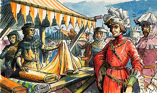 Cloth market in the middle ages.