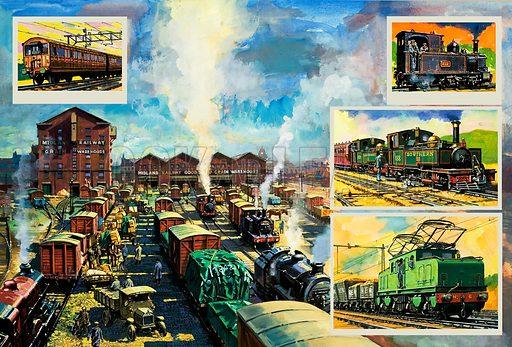 Britain's Railway Wonders: Road Versus Rail. Original artwork from Look and Learn no. 973 (1 November 1980).