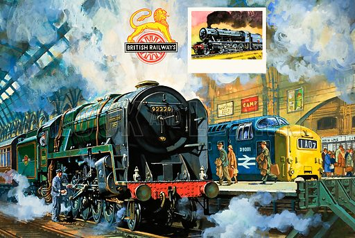 Britain's Railway Wonders: A Sad Farewell to Steam. Original artwork from Look and Learn no. 975 (15 November 1980).
