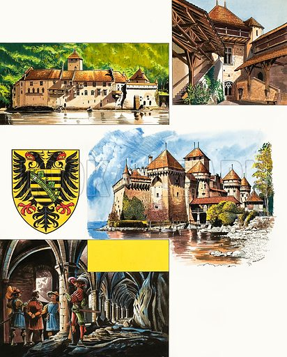 Historic Castles of the World: Chateau De Chillon, the Beautiful Prison. Original artwork from Look and Learn no. 436 (23 May 1970).