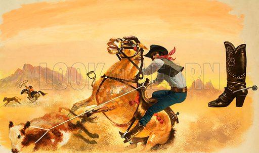 Unidentified cowboy roping cattle. Original artwork (dated 17/11/02).