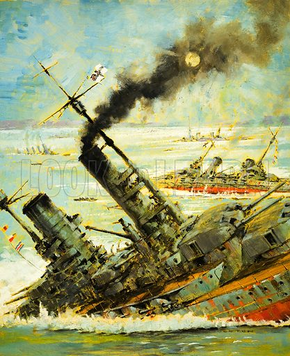 The Day That They Scuttled the Great German Fleet. Original artwork from Look and Learn no. 573 (6 January 1973).