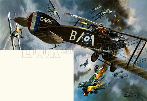 Unidentified biplanes in dogfight. Original artwork.