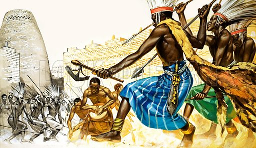 The Story of Africa: The Bantu. A war-dance being performed in the ritual compound at Zimbabwe, round the sacred drums of the tribe. The strange looking axe and spear heads were found in similar compounds not far away. The long cloak with animal tails marks out its wearer as a member of the nobility. Original artwork from Look and Learn no. 330 (11 May 1968).