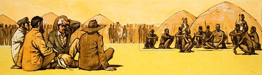 The Story of Africa: The Great Bargain. The concession hunters were tortured by the burning sun as they sat waiting for Lobengula's decision. Original artwork from Look and Learn no. 339 (13 July 1968).