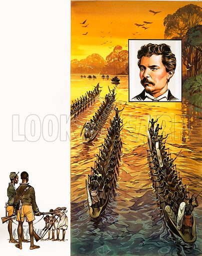 The Story of Africa: The Heart of a Continent. Stanley's party had to face hostile cannibal tribes in speedy war canoes. Original artwork from Look and Learn no. 340 (20 July 1968).