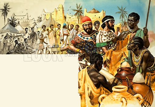 The Story of Africa: Migrant Peoples and Africa. Using the old Saharan desert routes, the Phoenicians took wine, olive oil, pottery, linen, wool and cloth and exchanged it for gold, ivory and skins. Original artwork from Look and Learn no. 327 (20 April 1968).