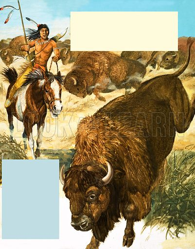 When Did the Last Buffalo Fall? Indian chasing down a buffalo. Original artwork (dated 30/4/66) used in The Sixth Look and Learn Book of 1001 Questions (1972).