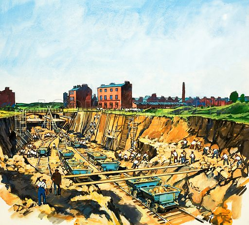 Construction of the London to Birmingham railway, 1830s. Original artwork from Look and Learn no. 969 (4 October 1980).