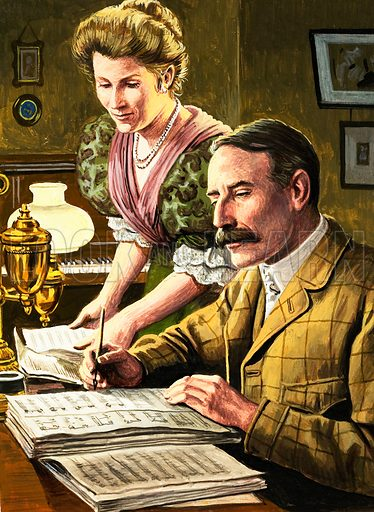 Elgar and his wife, picture, image, illustration